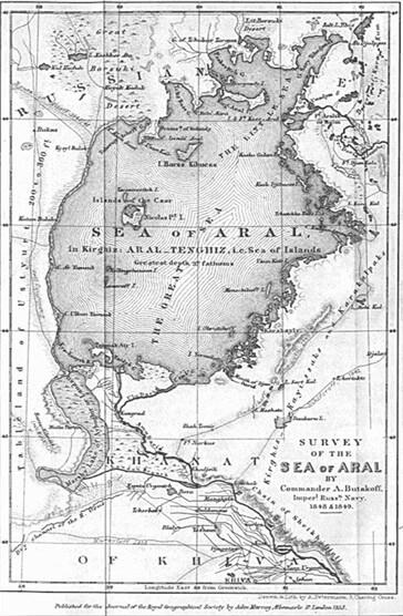 Рис. Карта Аральского моря (Бутаков Г.И.).