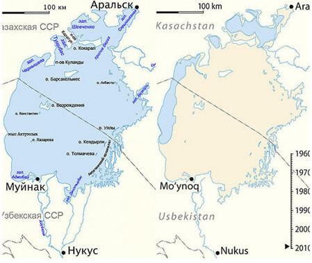 Рис. Динамика изменения Аральского моря (с 1960 г по 2016 г.).