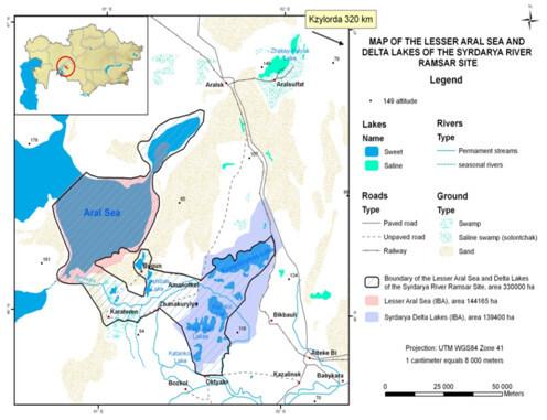 Рис. Территория водно-болотных угодий и Северного Аральского Моря относящихся Рамсарской конвенции.